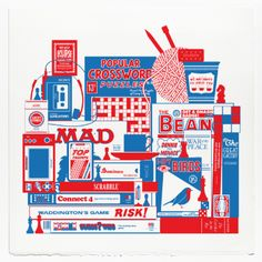 Crispin Finn Passing The Time Print: Hand pulled two colour 'Passing the Time' screen print by Crispin Finn.  -Open edition, each one hand dated and embossed.