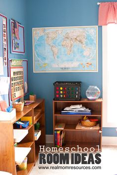 Lots of great homeschool room decorating ideas.