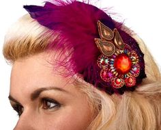 Purple Fascinator  feathered and bejeweled cocktail by RedsRibbons, £25.00