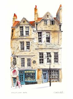 Beautiful buildings from around the world (and Somerset) drawn with a little eccentricity. Drawings, prints and canvases. Building Illustration, House Illustration, Travel Illustration, Watercolor Illustration, Pen And Watercolor, Watercolor Landscape, Watercolor Paintings, Watercolours, Building Sketch