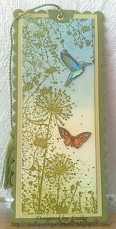 dandelion, hummingbird and butterfly tag  #crafts #tag #tags #blue #green