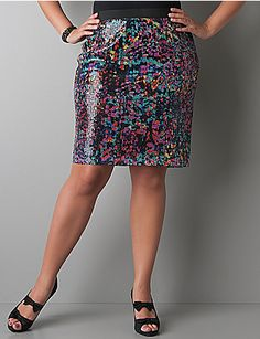I usually hate Lane Bryant, but this multi-color sequin skirt has oh-so-much potential. Funky and unique plus-sized piece.