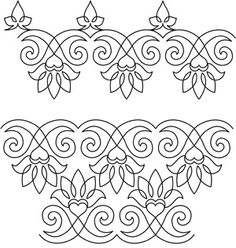 Royal Court - Pantograph like this idea Border Embroidery Designs, Hand Embroidery Patterns, Beaded Embroidery, Cross Stitch Embroidery, Quilt Patterns, Machine Embroidery, Quilting Stencils, Longarm Quilting, Free Motion Quilting