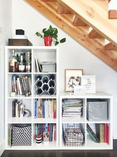 Space saving storage under the stairs: ikea kallax system (bedroom organization diy space saving) Space Saving Furniture, Ikea Under Stairs, Ikea, Kallax Ikea, Home, Under Stairs Storage Ikea, Space Saving Furniture Bedroom, Home Decor, Ikea Shelves