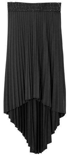 Solid Black Womens High Low Pleated Skirt Size SMALL 6/8 Jon Anna NY Clothing