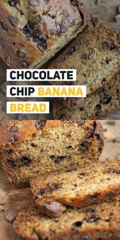 """Feb 2020 - Our Chocolate Chip Banana Bread recipe is my family's favorite! So moist and delicious, my kids will hide bananas so they get overripe and we """"HAVE"""" to make it! Chocolate Chip Zucchini Bread, Vegan Banana Bread, Easy Banana Bread, Chocolate Chip Banana Bread, Chocolate Chip Recipes, Easy Bread, Banana Bread Recipes, Best Chocolate, Delicious Chocolate"""
