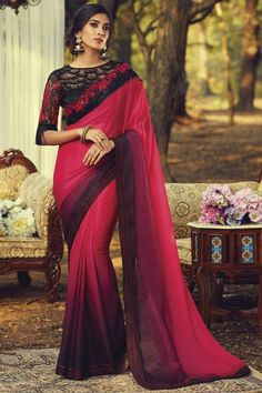 Online Shopping of Art Silk Fabric Fancy Party Style Rani Color Saree With Embroidered Blouse from SareesBazaar, leading online ethnic clothing store offering latest collection of sarees, salwar suits, lehengas & kurtis Bollywood Sarees Online, Silk Sarees Online, Anarkali, Lehenga, Party Wear Sarees Online, Wedding Saree Collection, Trendy Sarees, Saree Shopping, Chiffon Saree