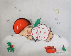 Xmas Greeting Card by Eva Harta ~ Cute Angel Dreaming