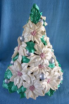 Here is a vintage Atlantic Mold ceramic Christmas tree. This is not your usual tree with green branches and colored lights. This is made of large Poinsettia Tree, Christmas Poinsettia, Green Christmas, All Things Christmas, Christmas Holidays, Christmas Ornaments, Rustic Christmas, Christmas 2019, Vintage Ceramic Christmas Tree