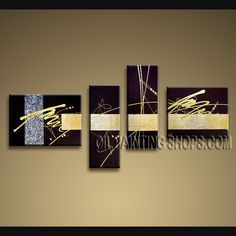 Primitive Modern Abstract Painting Oil Painting On Canvas Panels Gallery Stretched Abstract. This 4 panels canvas wall art is hand painted by A.Qiang, instock - $155. To see more, visit OilPaintingShops.com