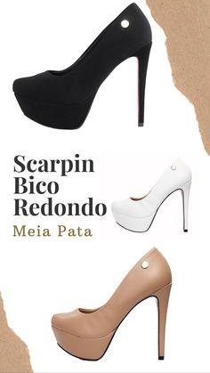 7b80a319a Sacarpin para combinar com qualquer look! 😉👠 Scarpin salto alto meia pata  bico redondo