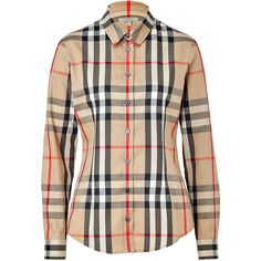 Burberry Brit - Stretch Cotton New Classic Check Shirt ($238) ❤ liked on Polyvore featuring tops, shirts, blouses, burberry, women, beige, checkered button down shirt, button front shirt, slim shirt and long sleeve tops
