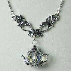 Victorian Silver Dangle Necklace Clear Crystal Teapot Charm