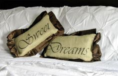 burlap and velvet sweet dreams pillows, crafts, home decor, Sweet Dreams Burlap and Velvet Pillows