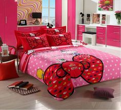 Hello Kitty Bedding Set Children Cotton Bed Sheets Hello Kitty