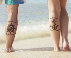 Matching Anchor and Wheel Tattoo for Couples
