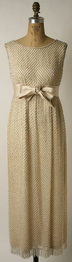 Norell Dress 1963 by Norman Norell (American, 1900-1972) Retailer: Evelyn Byrnes. Silk, glass, plastic