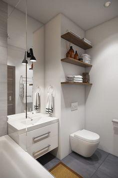 new ideas bathroom shower shelves storage Bathroom Colors Gray, White Bathroom, Modern Bathroom, Modern Studio Apartment Ideas, Apartment Design, Bathroom Wall Decor, Bathroom Interior, Bathroom Ideas, Bathroom Storage