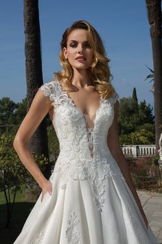 Justin Alexander - Style Organdy Ball Gown with Plunging Neckline Plunging Neckline Style, Justin Alexander, Bridal Gowns, Wedding Dresses, Lace Ball Gowns, Nude Color, Dream Dress, Bridal Collection, Wedding Styles
