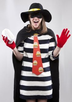 Have a striped dress in your closet? All you need are a few accessories to transform yourself into a hamburgler.