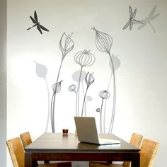 mia&co Talamanca Giant Transfer Wall Decals - Wall Sticker, Mural, & Decal Designs at Wall Sticker Outlet Wall Decal Sticker, Wall Stickers, Window Decals, Deco Nature, Flower Wall Decals, Wall Flowers, Growing Flowers, White Vinyl, Home Accents