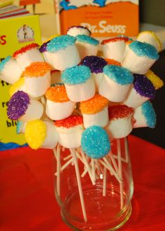 "Marshmallow ""truffula trees"" for a Dr. Seuss party by dtlwallace Marshmallow ""truffula trees"" for a Dr. Seuss party by dtlwallace Dr. Seuss, Dr Seuss Week, Dr Seuss Birthday Party, 1st Birthday Parties, Birthday Ideas, Dr Seuss Graduation Party, 2nd Birthday, Kendall Birthday, Birthday Stuff"