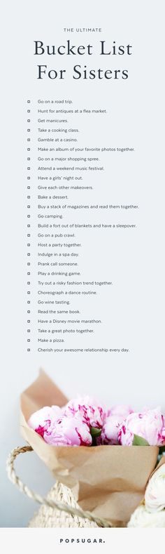 Ultimate Bucket List For Sisters The Ultimate Bucket List For Sisters ?The Ultimate Bucket List For Sisters ? Love My Sister, My Love, Sister Sister, Sister Gifts, Have A Nice Life, Lil Sis, Best Sister, Friend Gifts, Mein Seelenverwandter