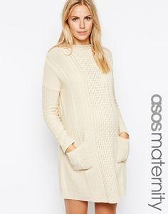 ASOS Maternity Exclusive Swing Dress with Cable Knit Abiti Per Maternità  Elegante 8983bdb5a93