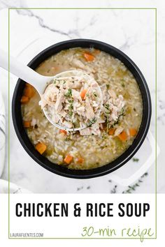 When you need a delicious, warm bowl of comfort food for dinner, this easy Stovetop Chicken and Rice Soup recipe is exactly what your body and soul need. Chicken Rice Recipes, Chicken Rice Soup, Veggie Soup, Canned Chicken, Soup Recipes, Cooking Recipes, 30 Min Meals, Easy One Pot Meals, Best Comfort Food