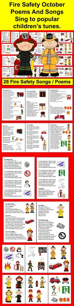 $ Fire Safety Week - Poems/Songs/Finger Plays and Graphics for Charts - 32 page file – All Illustrated with Graphics - 28 Songs/Poems/Finger Plays and Chants - Just choose those you like, and print just those pages.  *12 pages of large Fire Safety images to cut out and glue onto shared reading charts.  *Print in color or grayscale.   *Sing to familiar tunes, or chant.