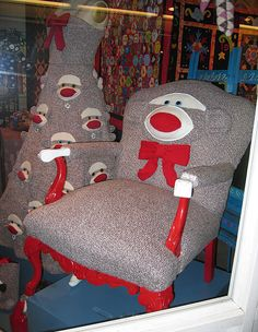 Sock Monkey Chair. I am constantly amazed by the variety of Sock Monkey objects out there.