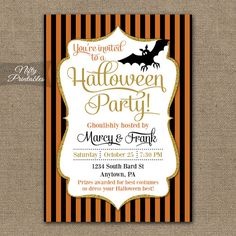 Halloween Party Invitations DIY Printable Invites by NiftyPrintables on Etsy, $15.00 #halloween #invitations