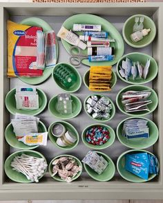 I like this idea for a first aid drawer. Except  that the pills should be in a child proof bottle with a label.