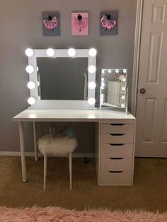 DESCRIPTION makeup mirror with lights for every makeup lover. Have a wonderful professional makeup experience! SIZE Entire mirror is 26 tall x 30 wide x 2 deep and the mirror size is 20 x 24 BULB SIZE Room Ideas Bedroom, Bedroom Decor, Bedroom Small, Master Bedroom, Vanity Room, Diy Vanity Table, Ikea Makeup Vanity, White Makeup Vanity, Black Vanity