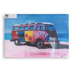 East Urban Home 'The Love Surf Bus' by M Bleichner Original Painting on Wrapped Canvas Size: Volkswagen, T3 Vw, Metal Wall Art, Framed Wall Art, Framed Prints, Combi T1, Hippie Painting, Art For Sale Online, Surf Trip