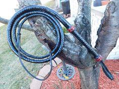 Bull Whip 6 Ft. Black Leather Bullwhip w/Black & Red Knots Custom Whip by DDsBigHossWhips on Etsy