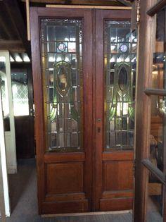 Tweeslag deur met glas in lood...te koop bij Medussa Heist op den berg