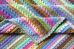 This pattern uses just one crochet stitch - Treble Crochet (this is called a Double Crochet in the US). It's an incredibly simple but very effective mixed stripe using two rows of crochet for each colour. The simplicity of it. Crochet Blanket Border, Striped Crochet Blanket, Afghan Crochet Patterns, Crochet Blankets, Crochet Afghans, Double Crochet Baby Blanket, Crochet Rugs, Baby Blankets, Attic 24 Crochet