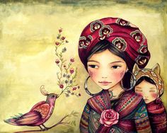 Mother and daughter with bird singing art print Claudia Tremblay Art And Illustration, Illustrations, Santa Sara, Claudia Tremblay, Ouvrages D'art, Mother And Child, Baby Wearing, Painting & Drawing, Folk Art