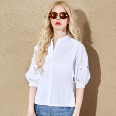 loose polo cotton blouse style