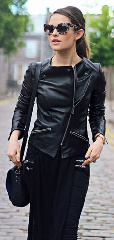 Combine a long on long outfit with a leather jacket and tortoise sunnies. Via Amy Spencer  Jacket: Barbour, Sunglasses: Whistles. Spring Outfit