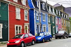 Picture of Colorful houses in St. John's, Newfoundland, Canada stock photo, images and stock photography. Newfoundland Canada, She Sheds, Village Houses, Colorful Houses, House Colors, Townhouse, The Row, Tiny House, St John's