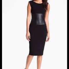 Bailey 44 black pencil dress with faux leather Bailey 44 black pencil dress with faux leather waist. Double layer lining and scoop back. Fabric is rayon/spandex. This dress accentuates your curves. Bailey 44 Dresses