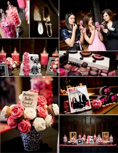 Barbie theme bridal shower- pink and black     pinned by www.sweeteventdesign.com  party ideas and inspiration