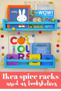 Ikea spice rack bookshelves - a great Ikea hack, how to use Ikea Bekvam spice racks as bookshelves, perfect for a nursery or children's room