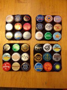 Beer bottle top coasters, set of 4. $3.00, via Etsy.