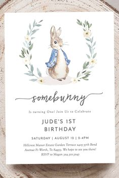 This Adorable Peter Rabbit Birthday Invitation is Editable and so cute! Perfect to use as your Peter Rabbit Invitation for a Birthday or Baby Shower