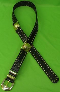 h designer belt bten  Versace Women's Belt Pre-owned Ladies Black Studded Leather Medusa Head  Gianna Designer Belt