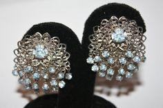 Vintage Blue Rhinestone Earrings Filigree Trembler by patwatty, $8.00