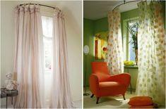Utilisez des tringles à rideaux circulaires pour donner une impression de grandeur à une petite fenêtre